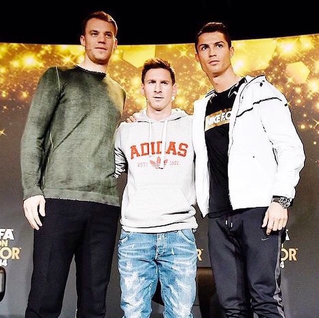 Leo messi cristiano ronaldo and Manuel Nuer at fifa ballon D'or