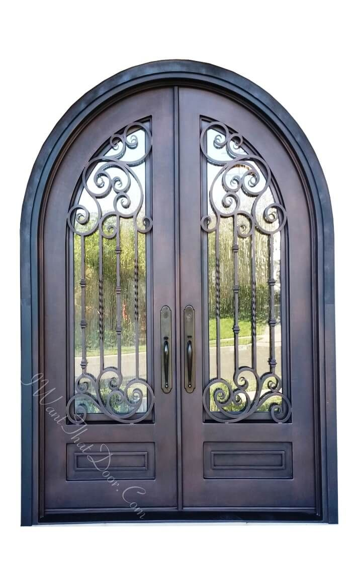 Andria Square Top Round Double Entry Iron Doors Universal Iron Doors In 2020 Iron Entry Doors Iron Doors Iron Door Design