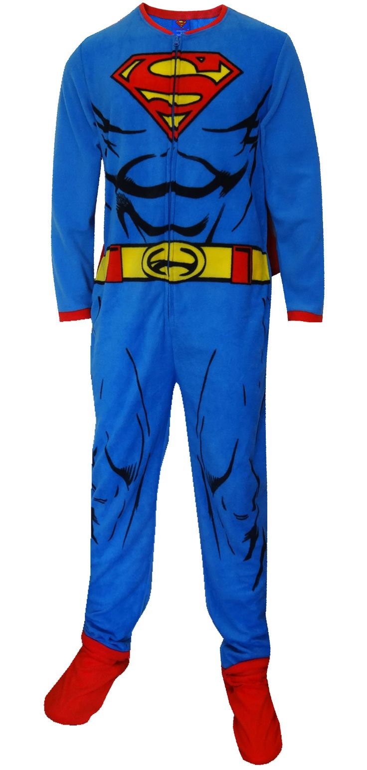 """Mens Superman Pajamas. September 13, seabreezeclothing. Classic Superman Pajamas for men. Every man will feel super in these pajamas. The. Superman Blue Union Suit Mens Caped Pajama. Classic \""""Superman\"""" Men's short-sleeve, long leg pajamas in Blue. Superhero Pajamas for Adults. Men and Women can feel like a superhero while sleeping."""