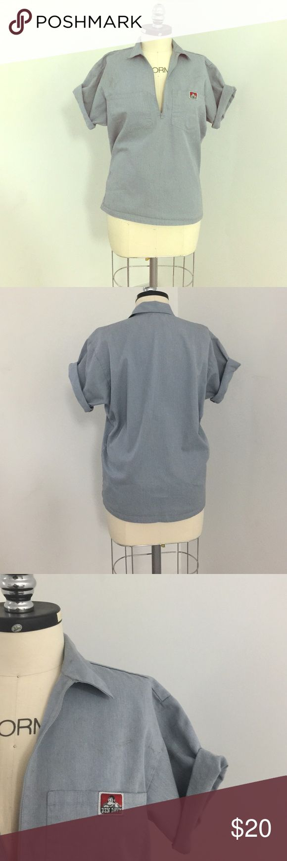 Ben Davis work shirt Light wash denim shirt. Zipper shows just the right amount of cleavage, or you can zip up to cover more. Looks great with skinny jeans and heels! Perfect for girls who are bigger on top! (Men's shirt) has some stains because it was an actual work shirt but I liked it 💁🏼 Ben Davis Jeans