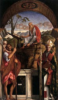 San Giovanni Crisostomo   Giovanni Bellini, Sts Christopher, Jerome and Louis of Toulouse