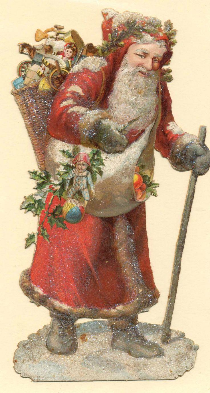 """Alte Oblate Glanzbild """"Großer Weihnachtsmann"""" 16 X 8 cm um 1880   eBay"""