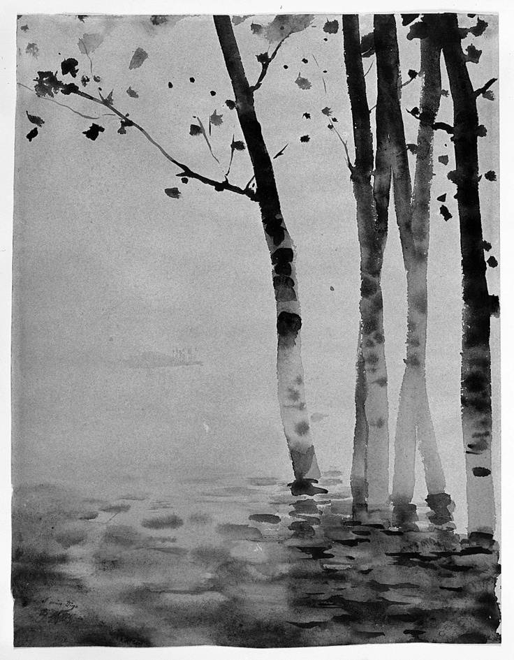 """Giuseppe De Nittis   Poplars in water ca 1878   Italian artist of the """"Japanism"""" movement of European Impressionists   India ink and watercolour on yellowed white cardboard, Florence, Palazzo Pitti, Modern Art Gallery"""