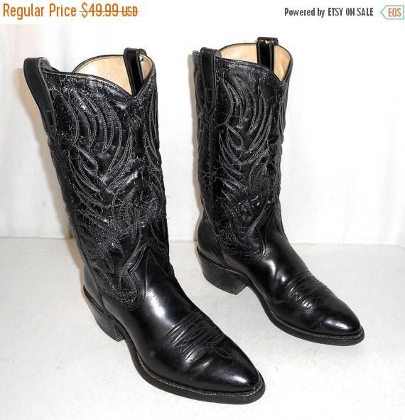 Vintage Black Texas Cowboy Boots mens size 8.5 D / womens 10