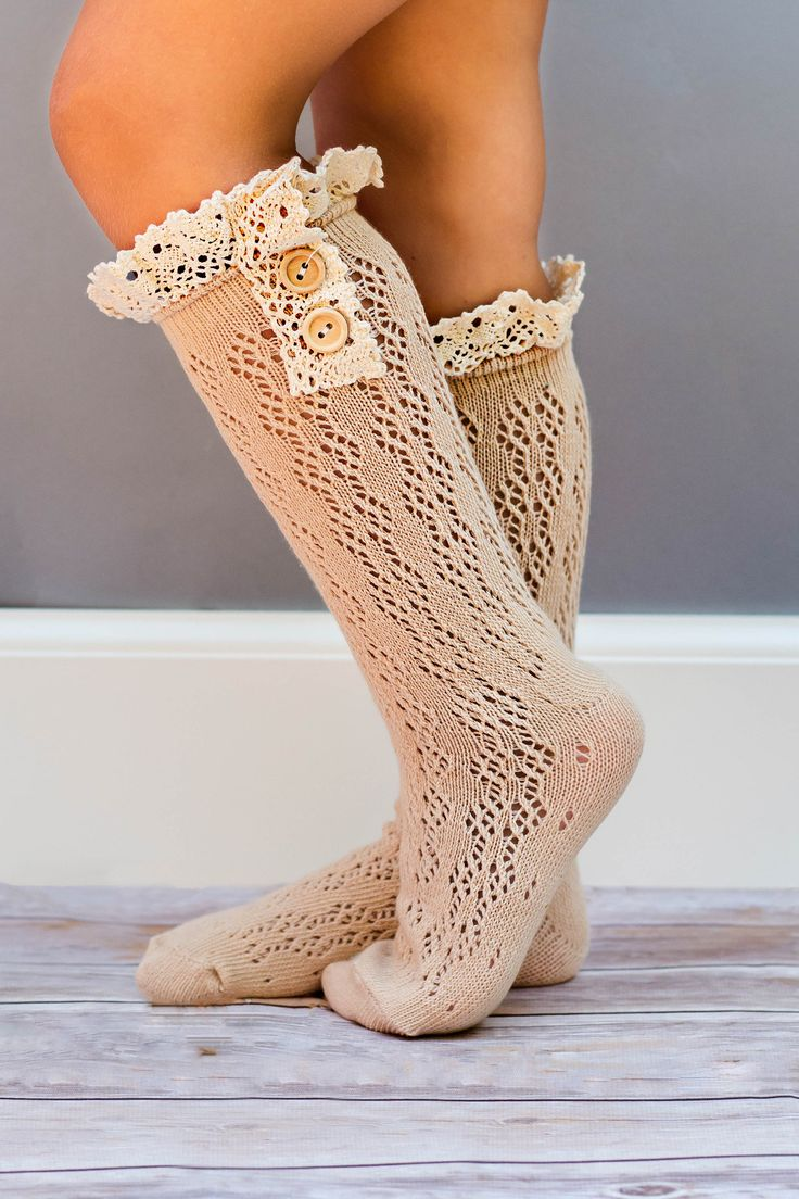 Cooler weather calls for boots, and what looks sweeter with a darling pair of boots than a cute pair of boot socks?  These socks come in a variety of colors and feature ivory vintage-style lace and button detail to match your little girl's favorite pair of boots. Available in Toddler shoe size 9-11.
