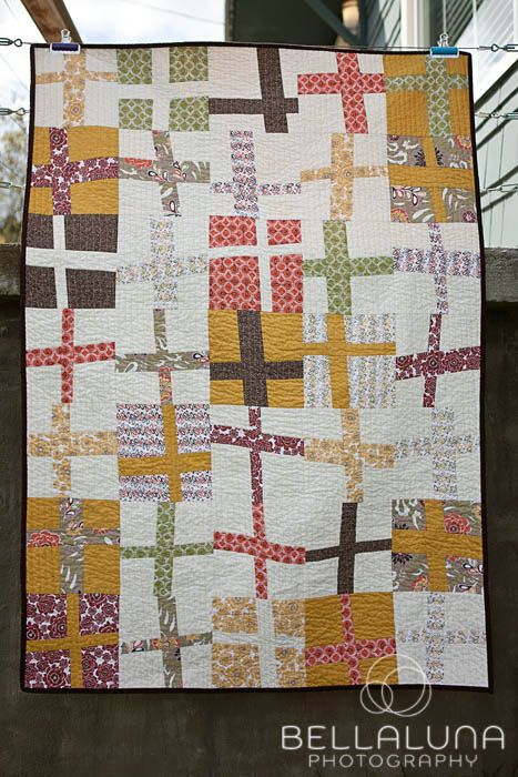Wonky Cross Quilt by kerry {bellalunaphotography}, via Flickr: