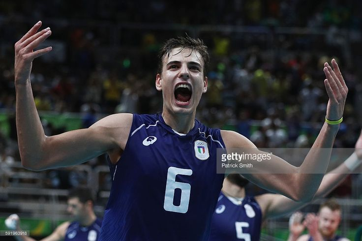 Simone Giannelli of Italy celebrates a point over the United States during the Men's Volleyball Semifinal match on Day 14 of the Rio 2016 Olympic Games at the Maracanazinho on August 19, 2016 in Rio de Janeiro, Brazil.