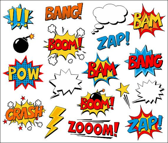 Superhero Clipart Comic Book Clip Art Comic Text Speech Bubbles - Boom, Zap, Bang, Bam, Crash, Pow Sounds Sayings - YDC132