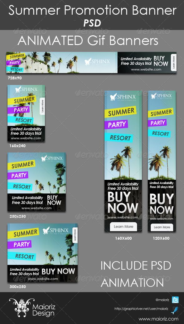 Summer Promote Banners  #GraphicRiver        Packet contains 6 high-quality banner template PSD files ready for your products and campaigns. Fully organized & layered. This item is designed especially for online services and online stores. Include short animation on sky colors. Your logo should be placed on frame Nº1 Font used in tag line : Century Gothic (Normal Font in Windows and Mac)  Sizes: 160×600px 120×600px 300×250px 250×250px 160×240px 728×90px     	      Created: 22May13…