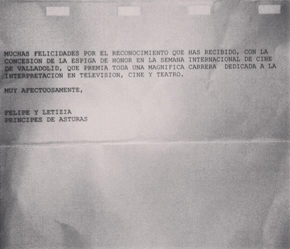 Los Príncipes de Asturias felicitan con un correo personal a Concha Velasco por su Espiga de Honor