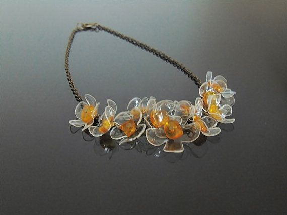 Baltic amber necklace amber jewelry floral necklace by decoratore