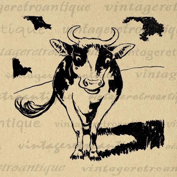 Digital Graphic Cow Image Farm Animal Download Printable Vintage Clip Art Jpg Png Eps Print 300dpi No.2015 @ vintageretroantique.com #DigitalArt #Printable #Art #VintageRetroAntique #Digital #Clipart #Download