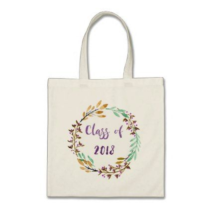 Purple Floral Watercolor Graduation Class of 2018 Tote Bag - college gift idea customize diy unique special