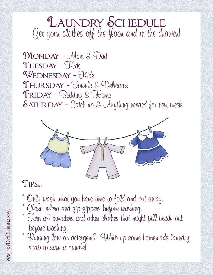 Get your clothes off the floor and back in the drawer by creating a laundry schedule.  Get your FREE printable!  #organize #goals #schedule