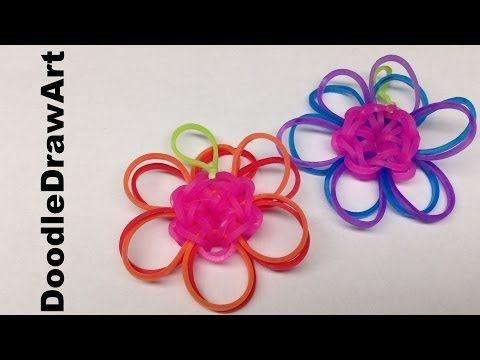 Craft: Rainbow Loom Double Daisy Flower Charm - Pattern Tutorial - YouTube