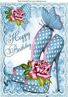 Pretty blue polka dot shoe with pink roses for birthday A4 on Craftsuprint - Add To Basket!