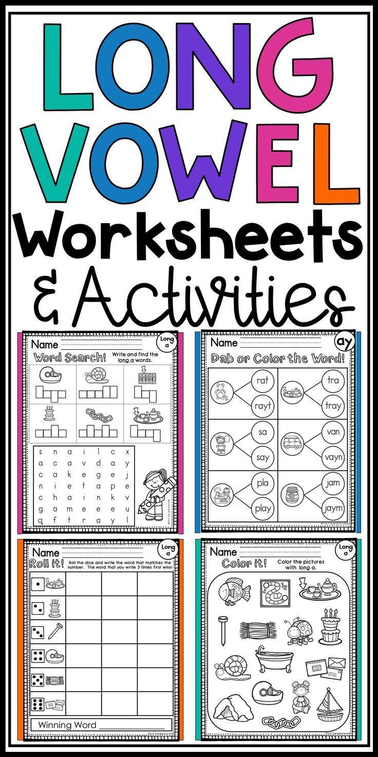 Long Vowel Worksheets No Prep Literacy Centers Bundle In 2020 Vowel Worksheets Long Vowel Worksheets Word Work
