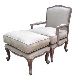 Wooden French Style Chateau Armchair with Ottoman in Ash Finish. Upholstery in Natural Linen. Made from solid mango wood.