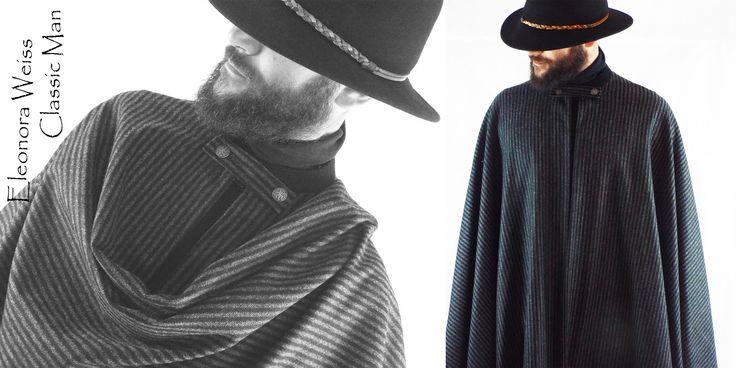 Classic Man Style Tabarro corto in lana a righe con collo coreana