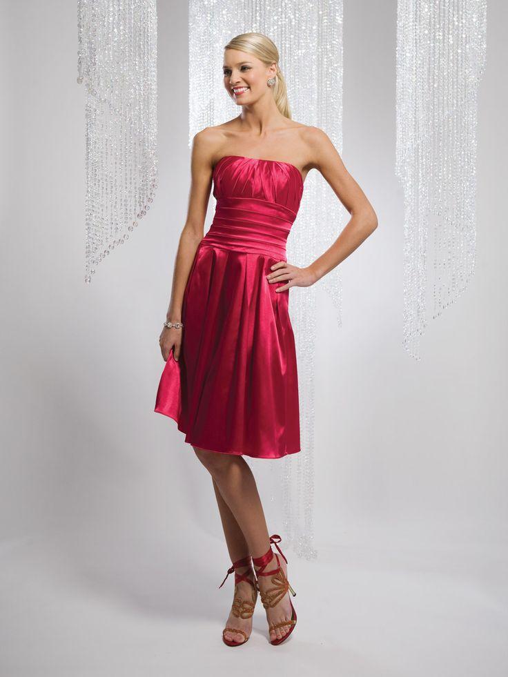 A-line sleeveless satin tea-length bridesmaid gown