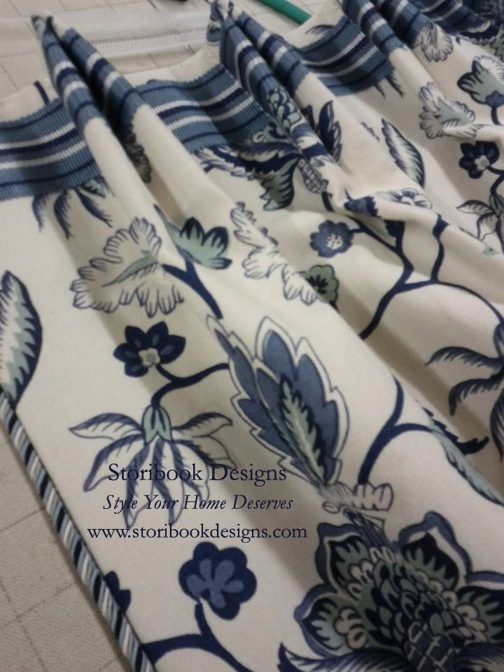 Drapes never need to be ordinary!!  Look at the top banding going across the top and then the cord on leading edge, really makes these special!  By Storybook Design.