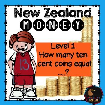 NZ Money activity. Ideal for Years 1-3 (Level 1)In these 6 worksheets students write how many ten cent coins equal an amount. All the questions are from between 10 cents to $1.e.g. How many ten cent coins make 20cents? OR30 cents is how many ten cent coins?The hardest question is 'How many ten cent coins make a dollar?' HOW TO USE: - These can be used as printables OR- laminate each page for a re-useable activity. (children write their answer with a whiteboard pen) 6 pages Get this as part…