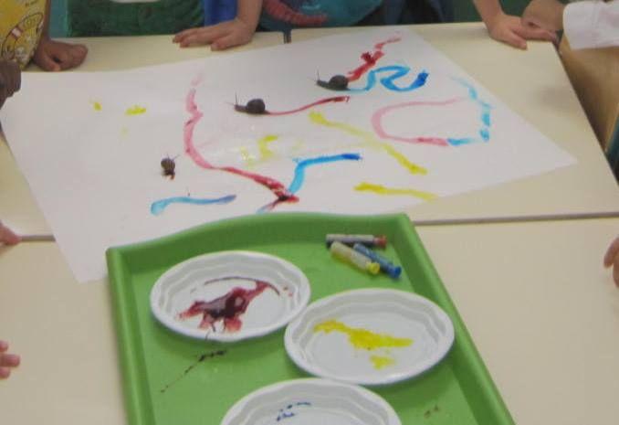 Traces d 39 escargots au colorant alimentaire maternelle - Escargot maternelle ...