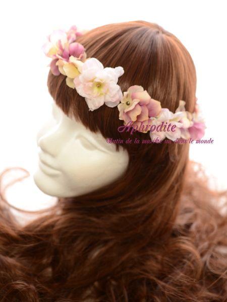 新作⑤ ビジュー付 「軽やかなピンクの花冠」