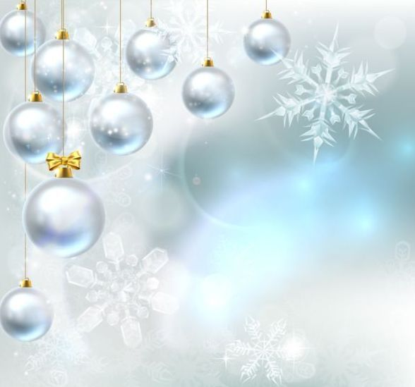 Silver christmas baubles with holiady background vector 02