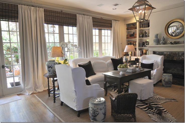 Love this family room from cote de texas: Cotedetexas, Living Rooms, Livingroom, Cote De Texas, Family Rooms, Window Treatments, Windows