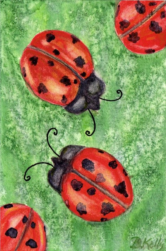 Watercolor Ladybugs with Salt