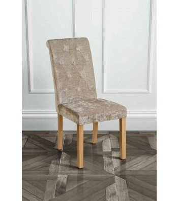 Genoa Golden Mink Upholstered Scroll Back Dining Chair