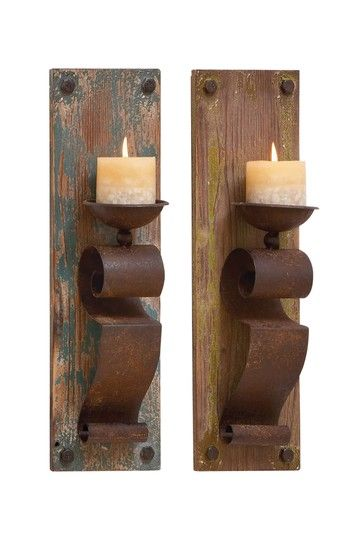 Wood Candle Sconce - Set of 2 on