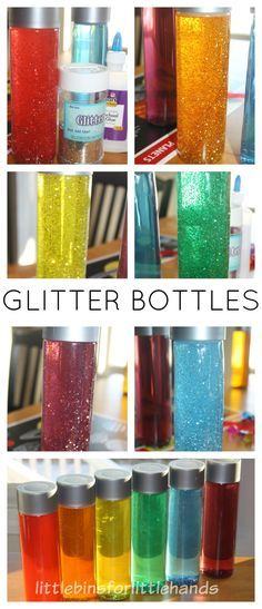 A glitter bottle is an easy calm down sensory tool for anxiety relief in kids. Glitter bottles are easy to make sensory bottle for kids. Toddler and preschool sensory bottles for easy kid's activities. Sensory hacks for kids and parents to try at home or school. Glitter bottles are great for sensory processing and visual stimulation.