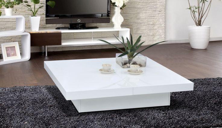Table basse carree slate laquee blanc - Table basse - Topkoo