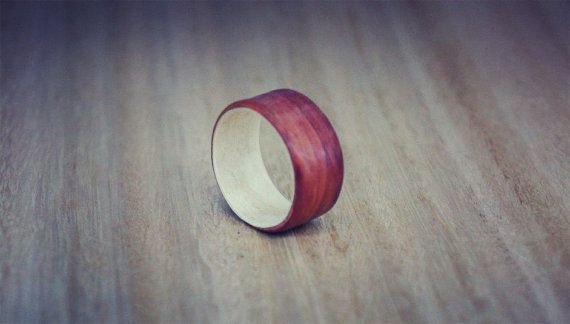 Bentwood Ring Lined With pau rosa and Ficus от ArtWoodTrend