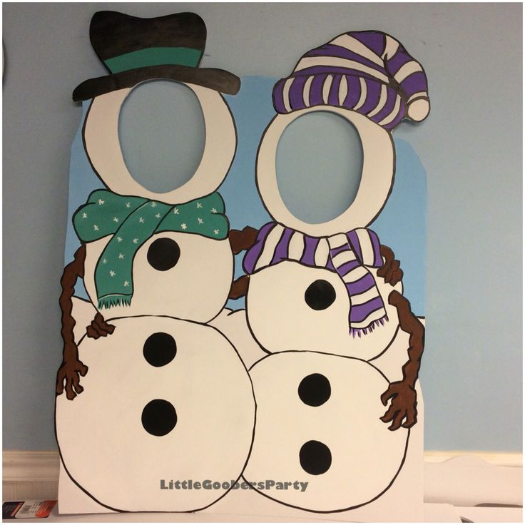 Snowman cutout for two! This is hand painted on 40x30 foam board. Great photo op…