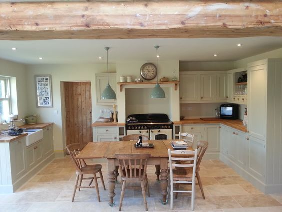 Beautiful kitchen renovation picture send to us from our lovely customer, Kate, who bought the Farrow & Ball paint from us using: Walls in: lime white ceiling in: slipper satin kitchen in: Old White #FarrowandBall