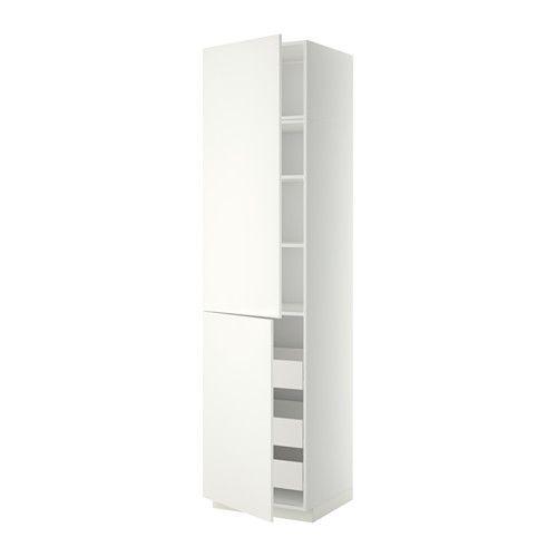 Berging? 240 cm hoog 209 EUR METOD / FÖRVARA Hoge kast&plank/3 lades/2 deuren - 60x60x240 cm, Häggeby wit, wit, - - IKEA