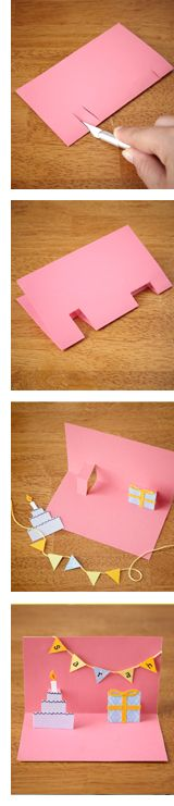 Easy Pop Up Card--make the bunting with Lilly Pulitzer prints and for the cake, cut one out of a printed picture of Let Them Eat Cake!