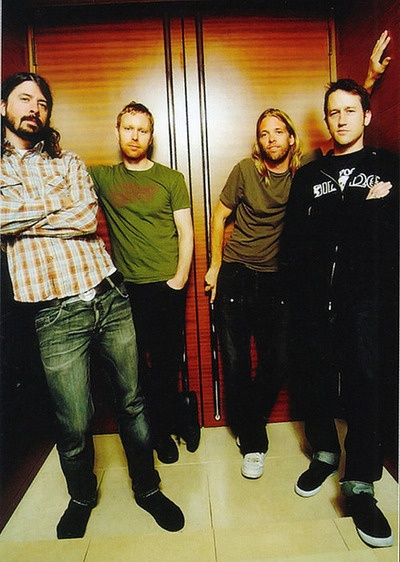 Foo Fighters - Dave Grohl, Nate Mendel, Taylor Hawkins and Chris Shiflett. Where's Pat?