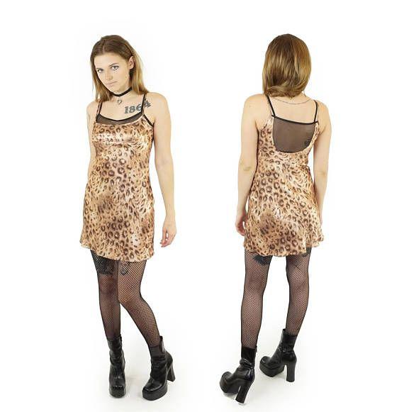 925d2f19490 Cheetah Print 90s Mesh Layered Slip Dress, 90s Vintage Satin Club ...