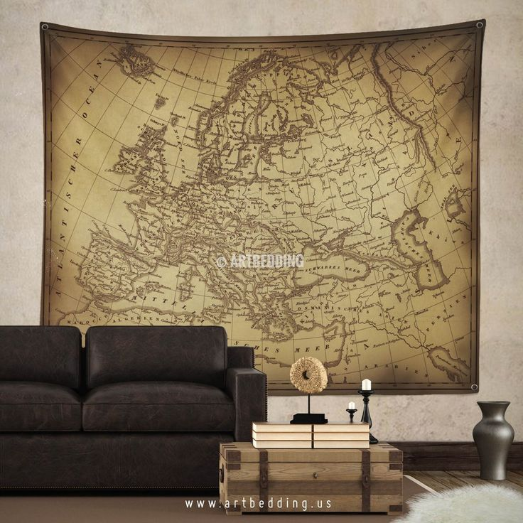 Old Map Of Europe Wall Tapestry Vintage Interior World Hanging