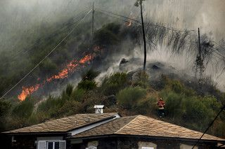Cortina de fumo e fogo avança em Arouca