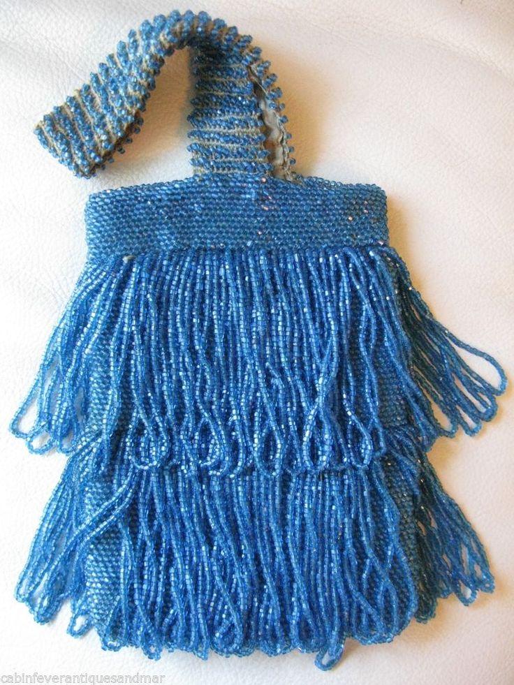 vintage art deco crochet turquoise aqua blue glass bead 3. Black Bedroom Furniture Sets. Home Design Ideas