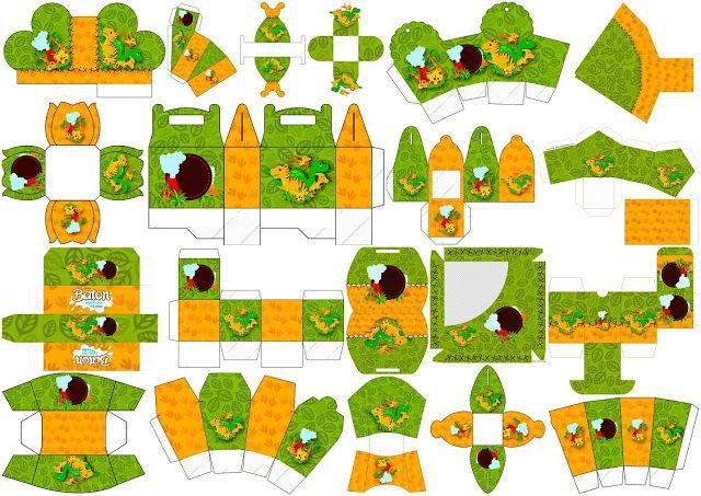 Fiesta de Dinosaurios: Cajas para Cumpleaños para Imprimir Gratis.