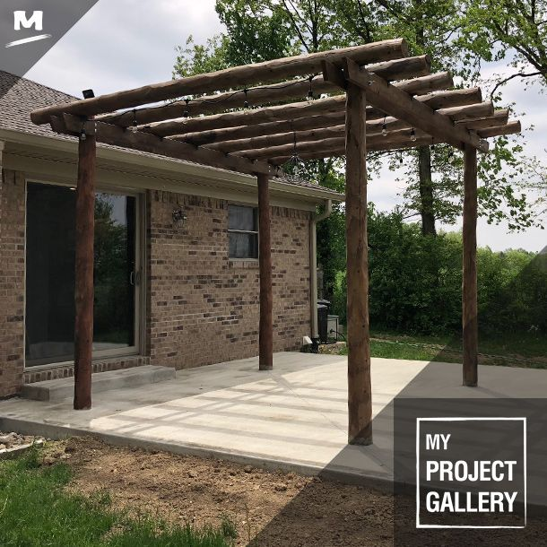 This Custom Made Pergola Was Designed And Built By A Couple For Their Backyard They Used Cedar Logs And Boards And A S Patio Projects Outdoor Backyard Pergola