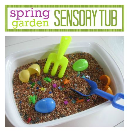 Spring Sensory Tub - great for learning about gardens too.