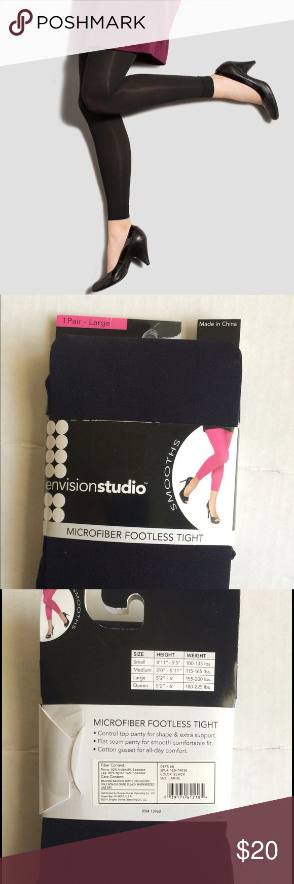 Black Microfiber Footless Tights Large New in package. See photo for sizing Envision Studio Accessories Hosiery & Socks