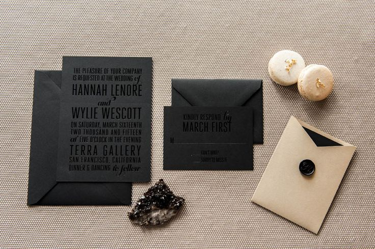 Foiled Invitations // Royce Foiled Wedding Invitation // Foil, black on black, bold, chic, stylish, edgy, modern invitation BUT with white lettering